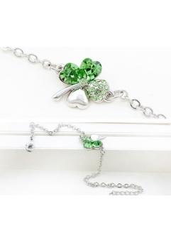 Bratara SWEET 4 LEAF green cu cristale Swarovski, garantie produs 6 luni
